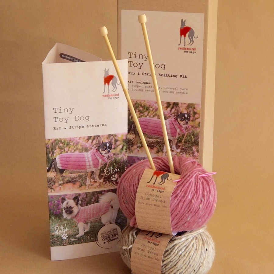 Donegal knitting kit for toy dogs