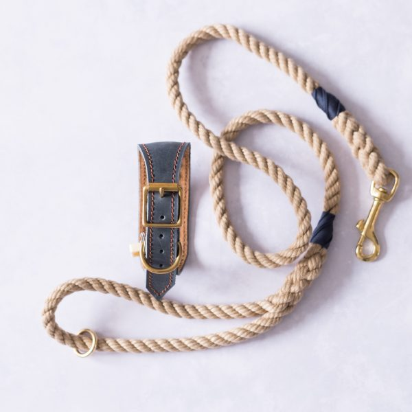 Navy Collar and Soft Rope Lead with Navy Whipping