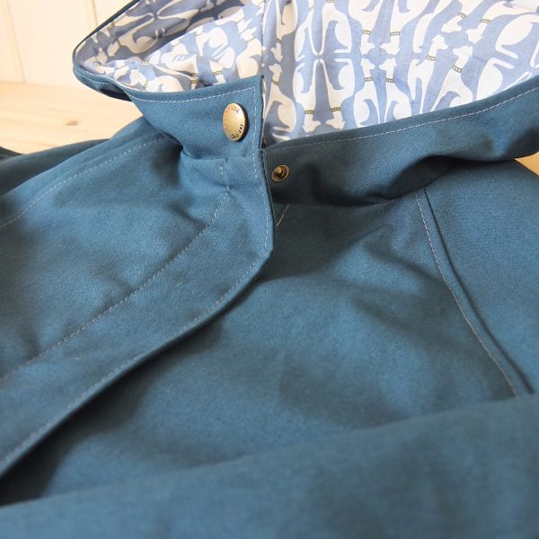 Chiltern Coat in Teal, Close-up