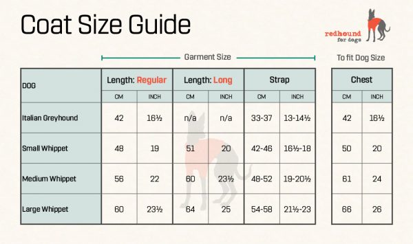 Size Guide for Whippet Coats from Redhound for Dogs. Small, Medium and Large are also available in Longer lengths.
