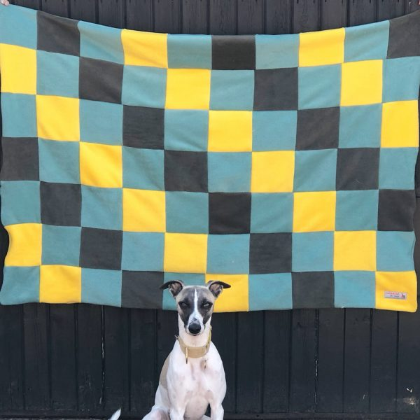 Large Patchwork Fleece Blanket in Black, Duck Egg & Yellow