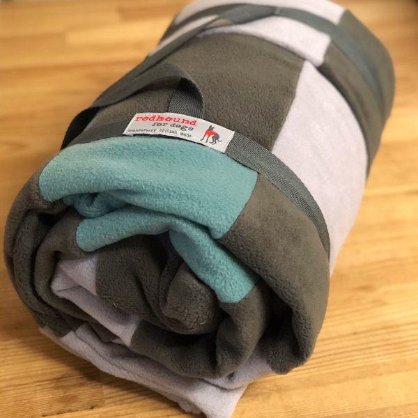 Large Patchwork Fleece Blanket in Olive, Duck Egg & Light Grey