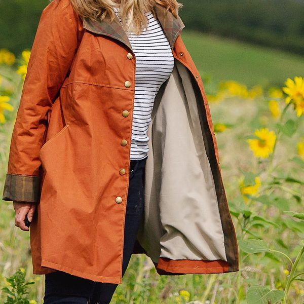 Malvern Coat in Rust showing lining