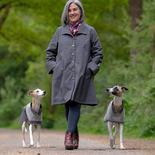 Malvern Ladies Coat and dogs wearing Lincoln (on left) and York (on right) coats from the City Collection