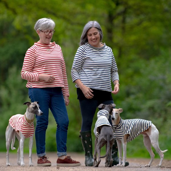 Matching Tees for Ladies and Whippets in Navy or Red