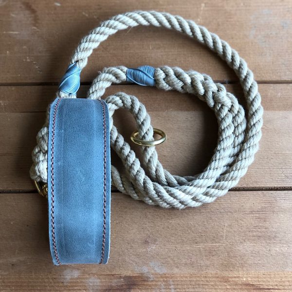 Soft Rope Lead with Mist Whipping & Mist Soft Leather Hound Collar