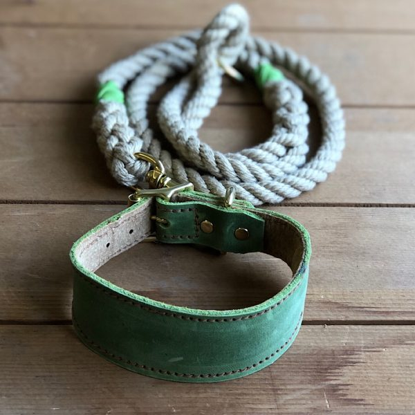Soft Rope Lead with Pistachio Whipping & Pistachio Soft Leather Hound Collar