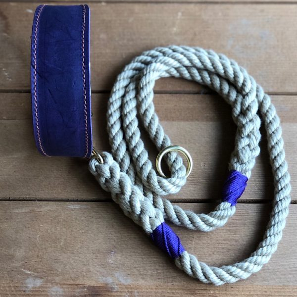Soft Rope Lead with Purple Whipping & Purple Soft Leather Hound Collar
