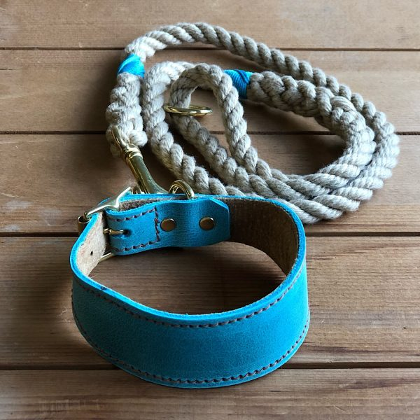 Soft Rope Lead with Turquoise Whipping & Turquoise Soft Leather Hound Collar