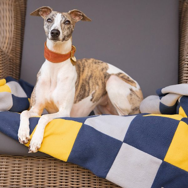 Patchwork Fleece Blanket in Yellow, Navy and Light Grey