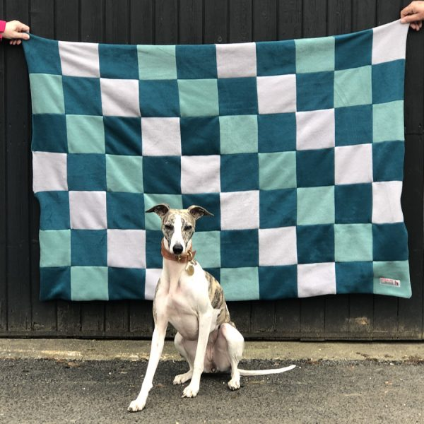 Patchwork Fleece Dog Blanket. This variation is using Teal, Duck Egg and Light Grey.