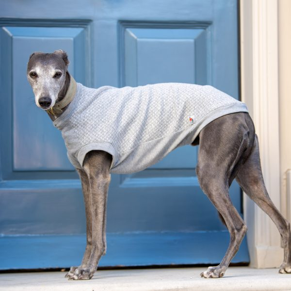 The Quiltee - cuffed Tee for whippets in Light Grey