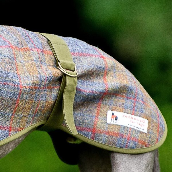 Sherlock Wool Coat with Wax Cotton Lining in Rust Check with Olive Lining