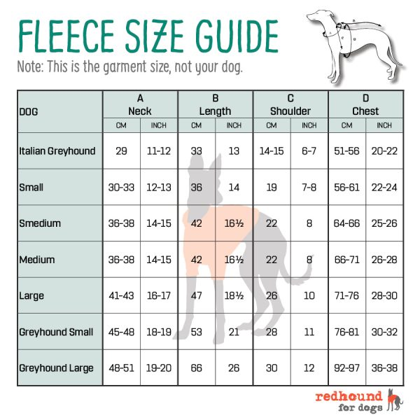 Redhound Fleece Size Guide