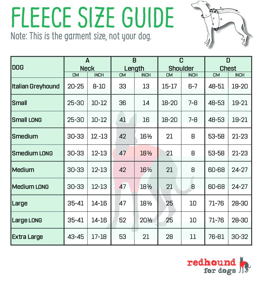Whippet Fleece Size Guide
