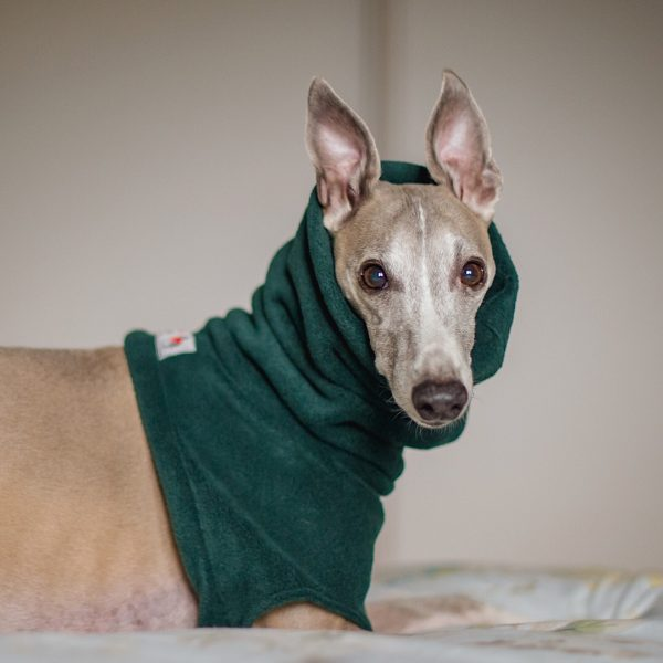 Fleece Snood for Whippets in Forest (from our Darks collection)