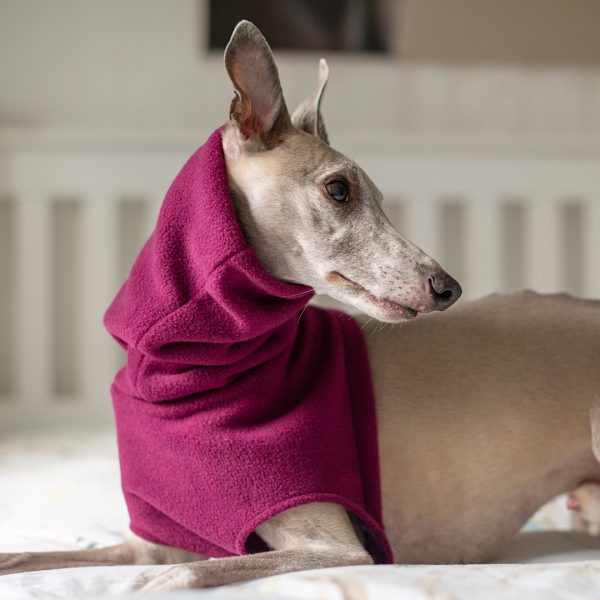 Fleece Snood for Whippets in Plum (from our Darks collection)