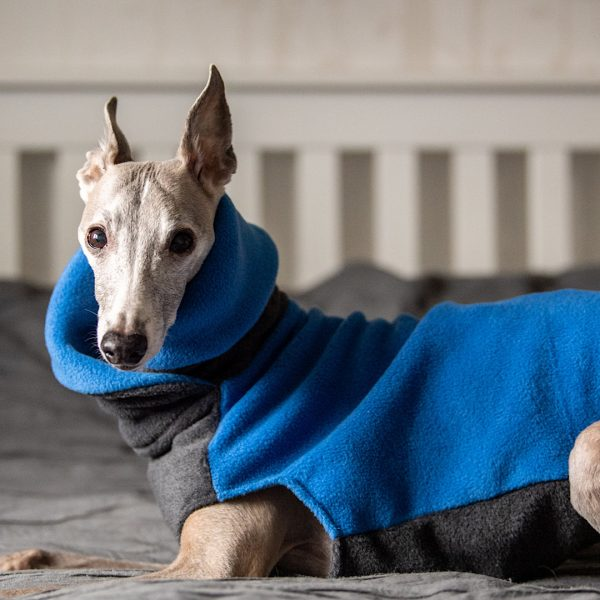Two Tone Wrap Neck Fleece in Charcoal and Cornflower