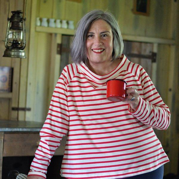 Ladies red stripe tee