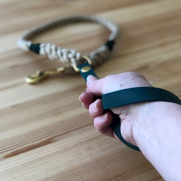 Rope Lead with Biothane Handle in Green