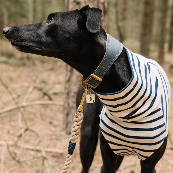 Stripe Tee for Whippets in Navy and Ecru