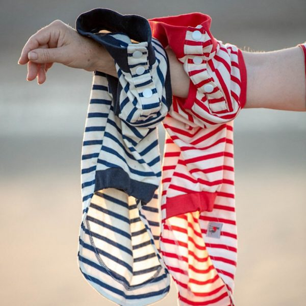 Popper Up Stripe Tees Available in Navy or Red Stripes