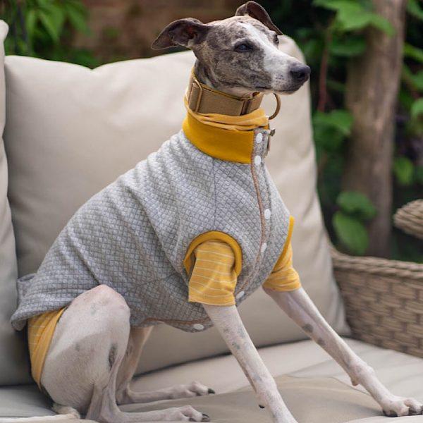 Quiltee Gilet in Grey & Ochre layered over a Legged Jersey Tee in Sun Sleel Stripe