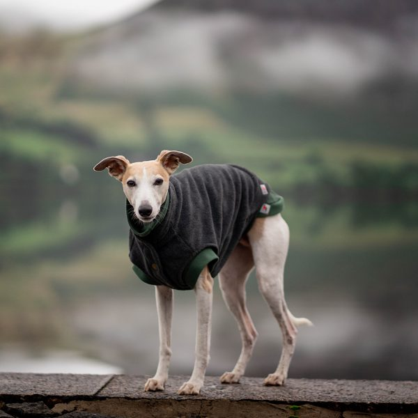 Fleece Gilet in Charcoal layered over a Cosee in Racing Green