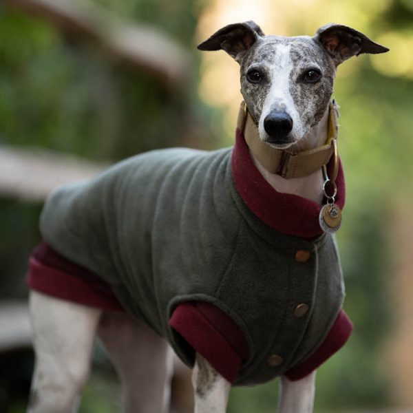 Fleece Gilet in Olive layered over a Cosee in Merlot